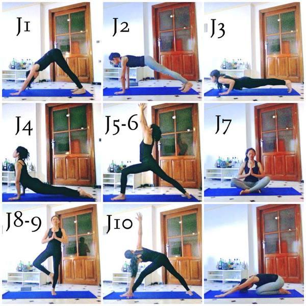 postures de yoga, chien tête en bas, planche, chaturanga dandasana, chien tête en haut, posture du guerrier, pose du lotus, posture de l'arbre, pose du triangle, posture de l'enfant